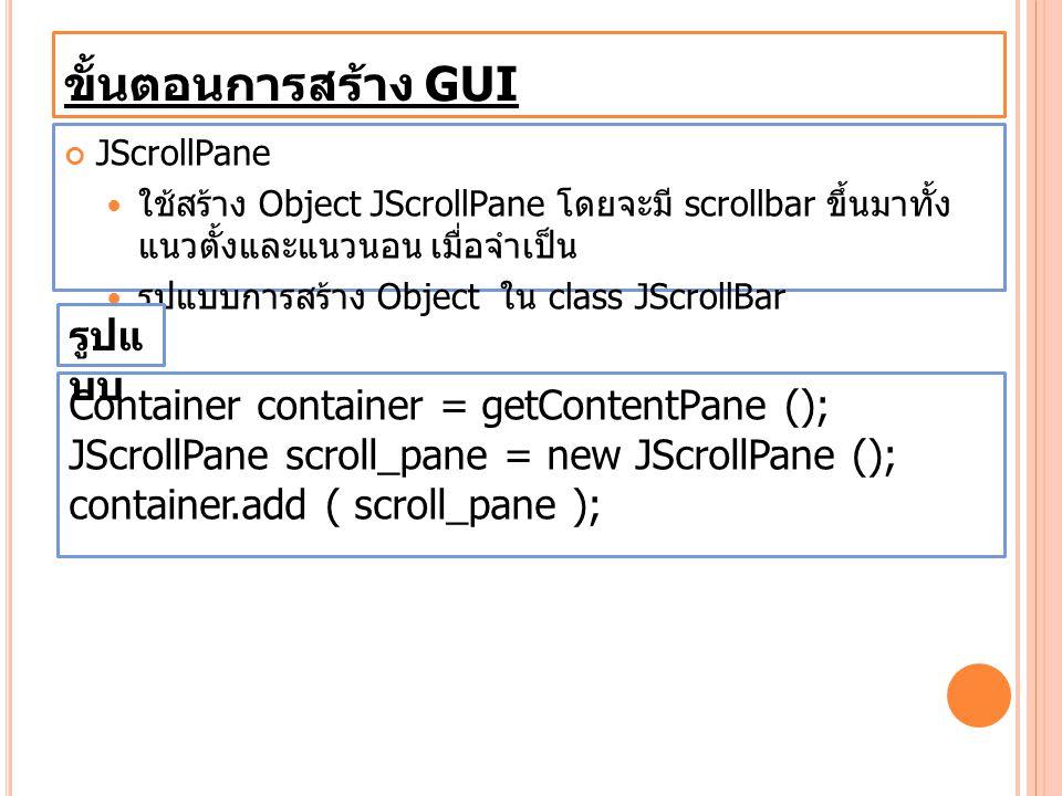 ขั้นตอนการสร้าง GUI JScrollPane ใช้สร้าง Object JScrollPane โดยจะมี scrollbar ขึ้นมาทั้ง แนวตั้งและแนวนอน เมื่อจำเป็น รูปแบบการสร้าง Object ใน class J