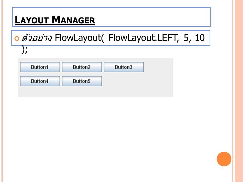 ตัวอย่าง FlowLayout( FlowLayout.LEFT, 5, 10 ); L AYOUT M ANAGER
