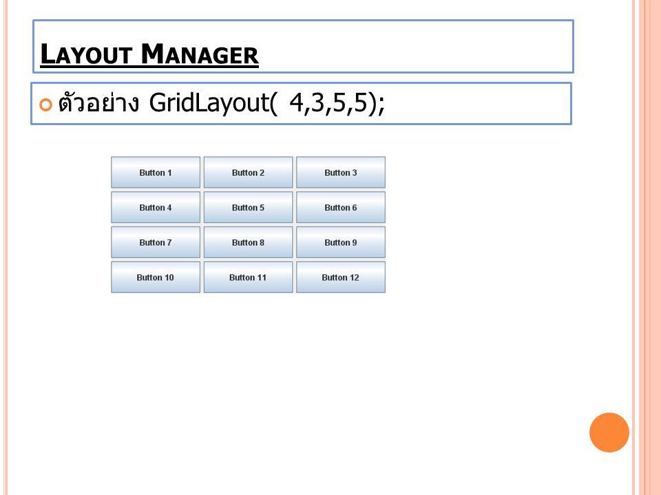ตัวอย่าง GridLayout( 4,3,5,5); L AYOUT M ANAGER