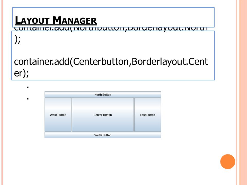 ตัวอย่าง container.add(Northbutton,Borderlayout.North ); container.add(Centerbutton,Borderlayout.Cent er);. L AYOUT M ANAGER