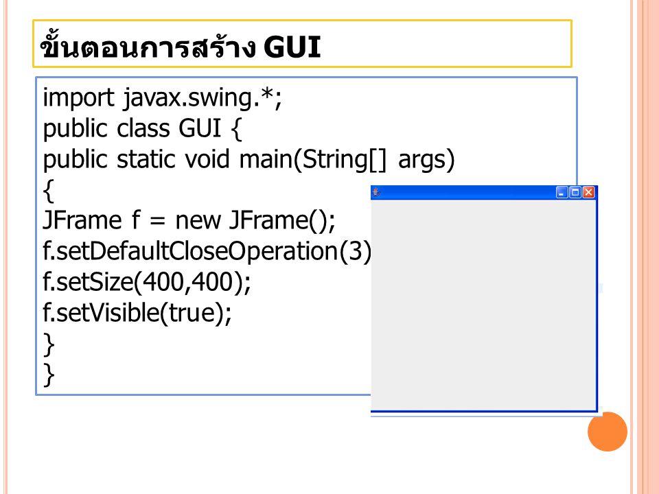 ขั้นตอนการสร้าง GUI JCheckBox รูปแบบการสร้าง Object ใน class JCheckBox JCheckbox namecheckbox = new JCheckbox( Label ,Group,Checkedstatus ); รูปแ บบ **Group คือการจัดกลุ่มของ checkbox ถ้าไม่มีกลุ่มให้ เป็น nul **CheckedStatus เป็นการบอกสถานะว่ามีการเช็คที่ช่อง หรือป่าว ถ้าเป็น true ก็จะเช็ค ถ้าเป็น false ก็จะไม่เช็ค JCheckBox ignoreCase = new JCheckBox( Ignore Case , true);