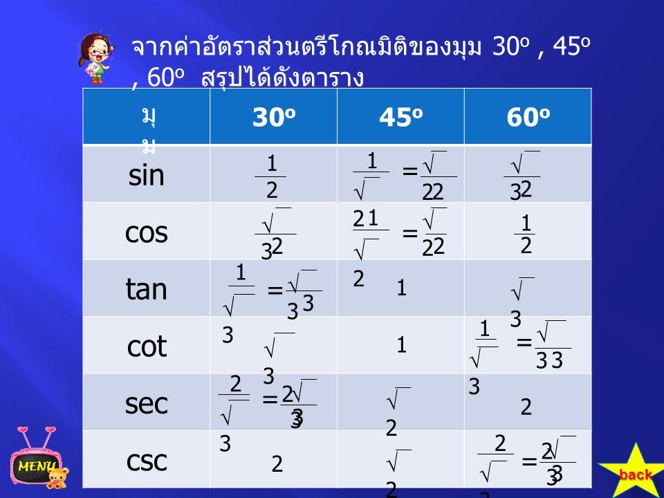 30 o 45 o 60 o sin cos tan cot sec csc จากค่าอัตราส่วนตรีโกณมิติของมุม 30 o, 45 o, 60 o สรุปได้ดังตาราง มุ ม 1 1 33 33 33 33 2 2 2 2 = = 33