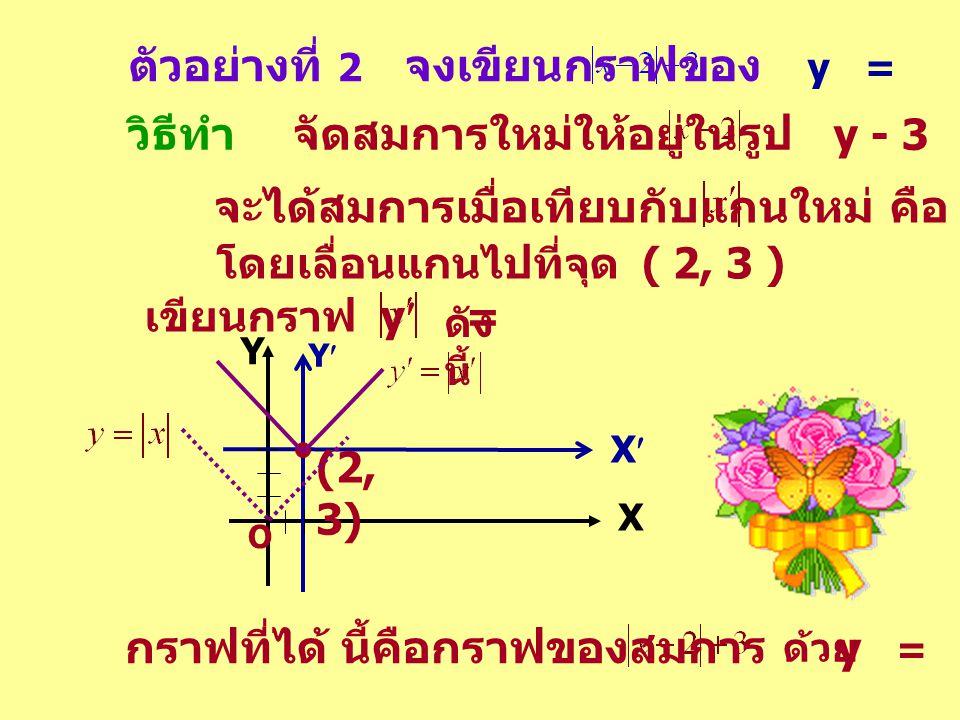 ตัวอย่างที่ 2 จงเขียนกราฟของ y = วิธีทำ จัดสมการใหม่ให้อยู่ในรูป y - 3 = จะได้สมการเมื่อเทียบกับแกนใหม่ คือ y = โดยเลื่อนแกนไปที่จุด ( 2, 3 ) ดัง นี้