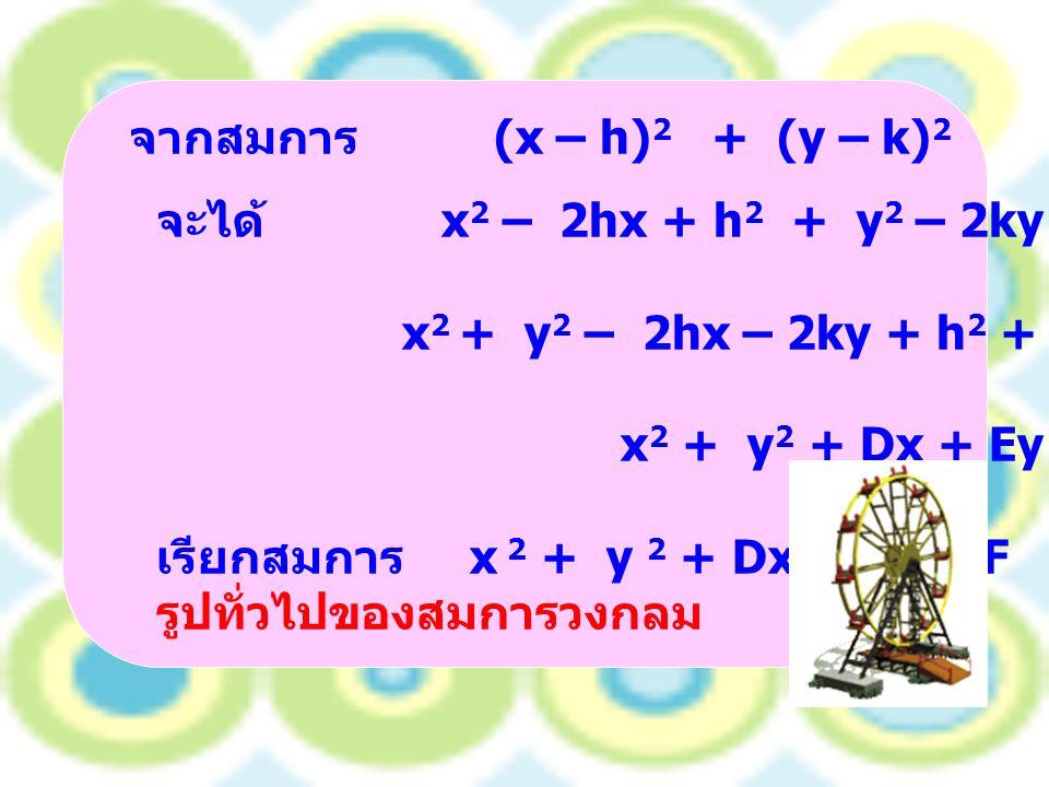 จากสมการ (x – h) 2 + (y – k) 2 = r 2 จะได้ x 2 – 2hx + h 2 + y 2 – 2ky + k 2 = r 2 x 2 + y 2 – 2hx – 2ky + h 2 + k 2 – r 2 = 0 x 2 + y 2 + Dx + Ey + F