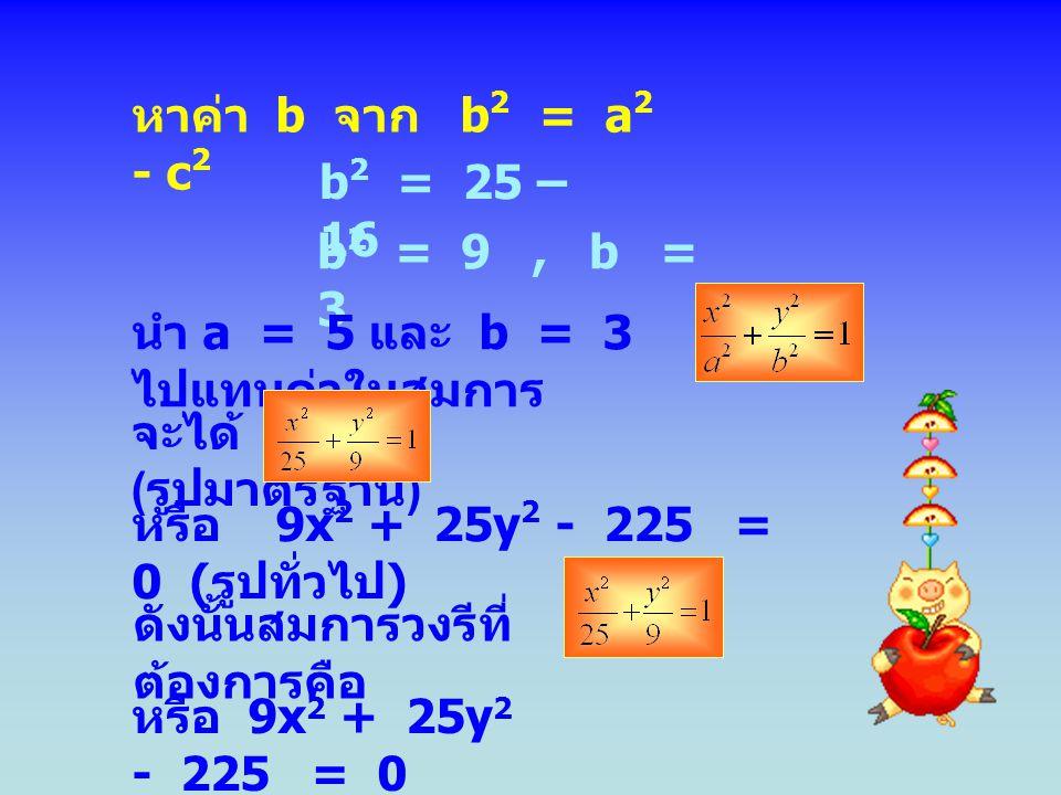 หาค่า b จาก b 2 = a 2 - c 2 b 2 = 25 – 16 b 2 = 9, b = 3 นำ a = 5 และ b = 3 ไปแทนค่าในสมการ จะได้ ( รูปมาตรฐาน ) หรือ 9x 2 + 25y 2 - 225 = 0 ( รูปทั่วไป ) ดังนั้นสมการวงรีที่ ต้องการคือ หรือ 9x 2 + 25y 2 - 225 = 0