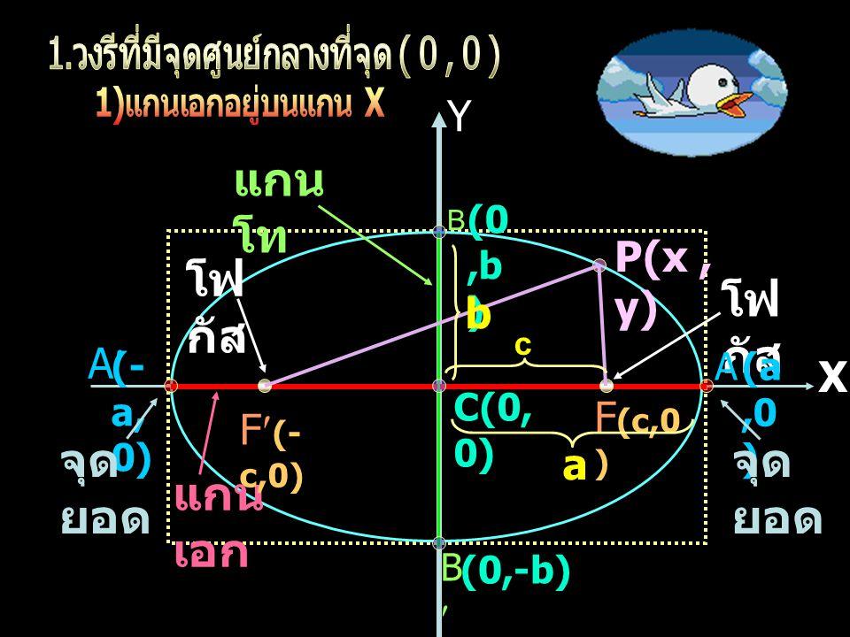 X Y X Y C(h,k) A A BB P(x, y) แกน เอก แกน โท (h,k +c) (h, k- c) (h,k +a) (h,k -a) (h+b,k) (h-b,k) F F จุด ยอด โฟ กัส k h a b c O