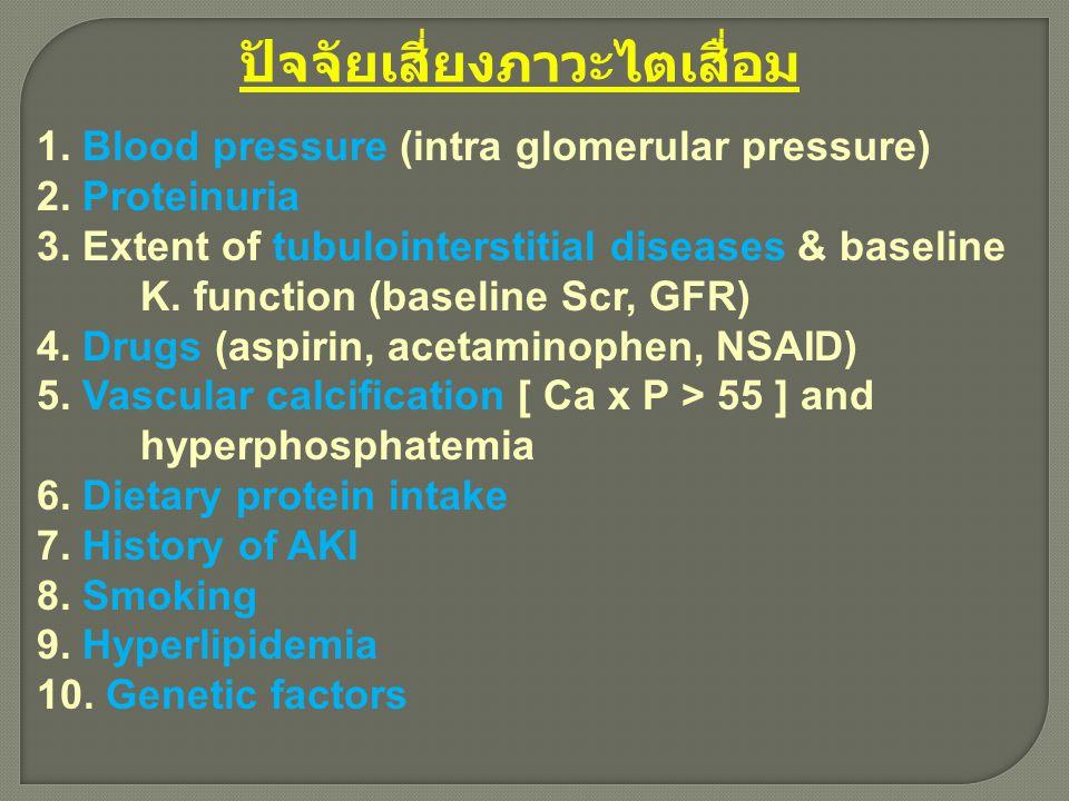 ปัจจัยเสี่ยงภาวะไตเสื่อม 1. Blood pressure (intra glomerular pressure) 2. Proteinuria 3. Extent of tubulointerstitial diseases & baseline K. function