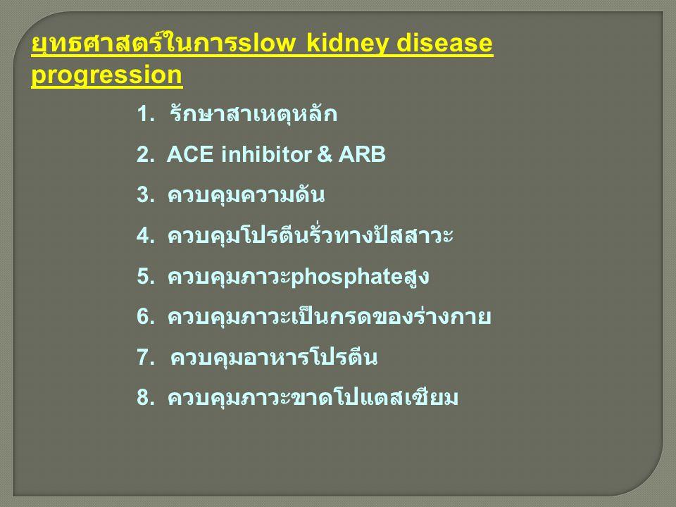 ยุทธศาสตร์ในการ slow kidney disease progression 1. รักษาสาเหตุหลัก 2. ACE inhibitor & ARB 3. ควบคุมความดัน 4. ควบคุมโปรตีนรั่วทางปัสสาวะ 5. ควบคุมภาวะ
