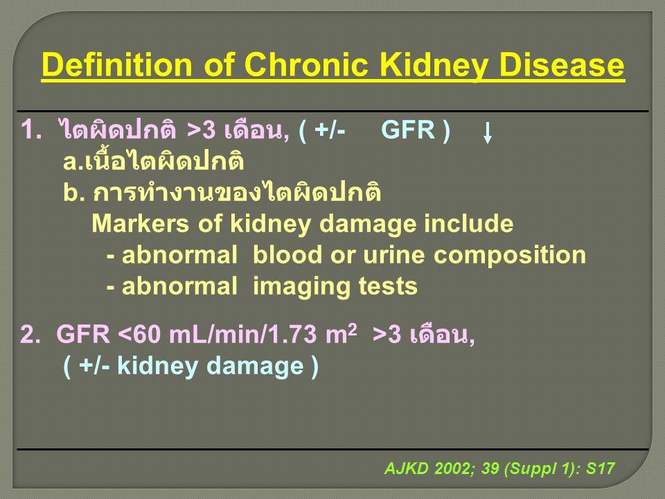 Definition of Chronic Kidney Disease 1. ไตผิดปกติ >3 เดือน, ( +/- GFR ) a. เนื้อไตผิดปกติ b. การทำงานของไตผิดปกติ Markers of kidney damage include - a