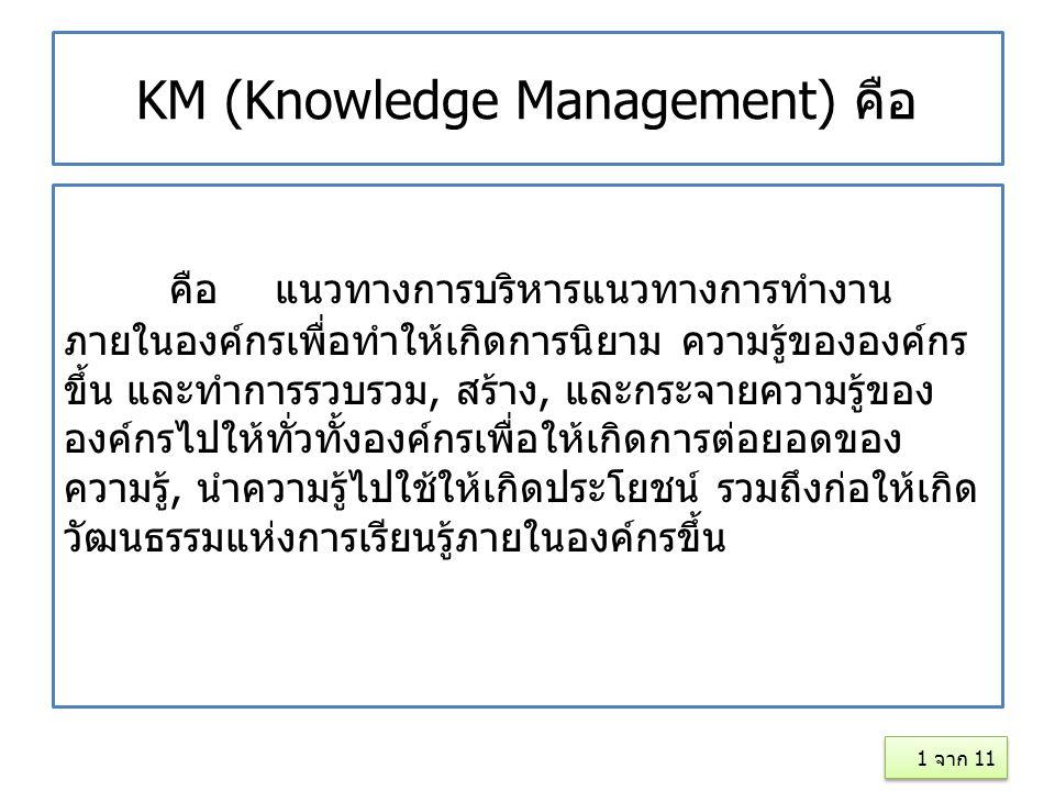 KM (Knowledge Management) คือ คือแนวทางการบริหารแนวทางการทำงาน ภายในองค์กรเพื่อทำให้เกิดการนิยาม ความรู้ขององค์กร ขึ้น และทำการรวบรวม, สร้าง, และกระจา