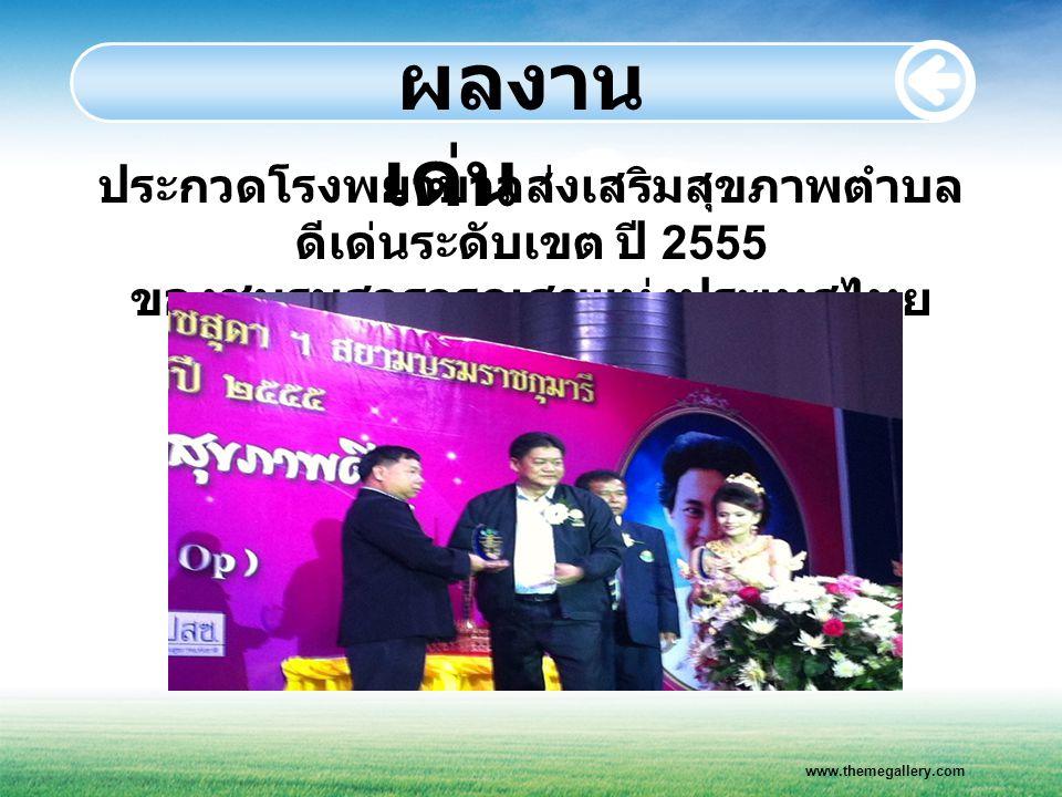 www.themegallery.com ประกวดโรงพยาบาลส่งเสริมสุขภาพตำบล ดีเด่นระดับเขต ปี 2555 ของชมรมสาธารณสุขแห่งประเทศไทย ผลงาน เด่น