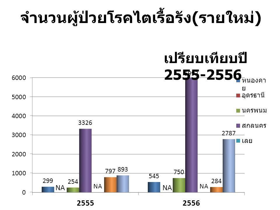 จำนวนผู้ป่วยโรคไตเรื้อรัง ( รายใหม่ ) เปรียบเทียบปี 2555-2556