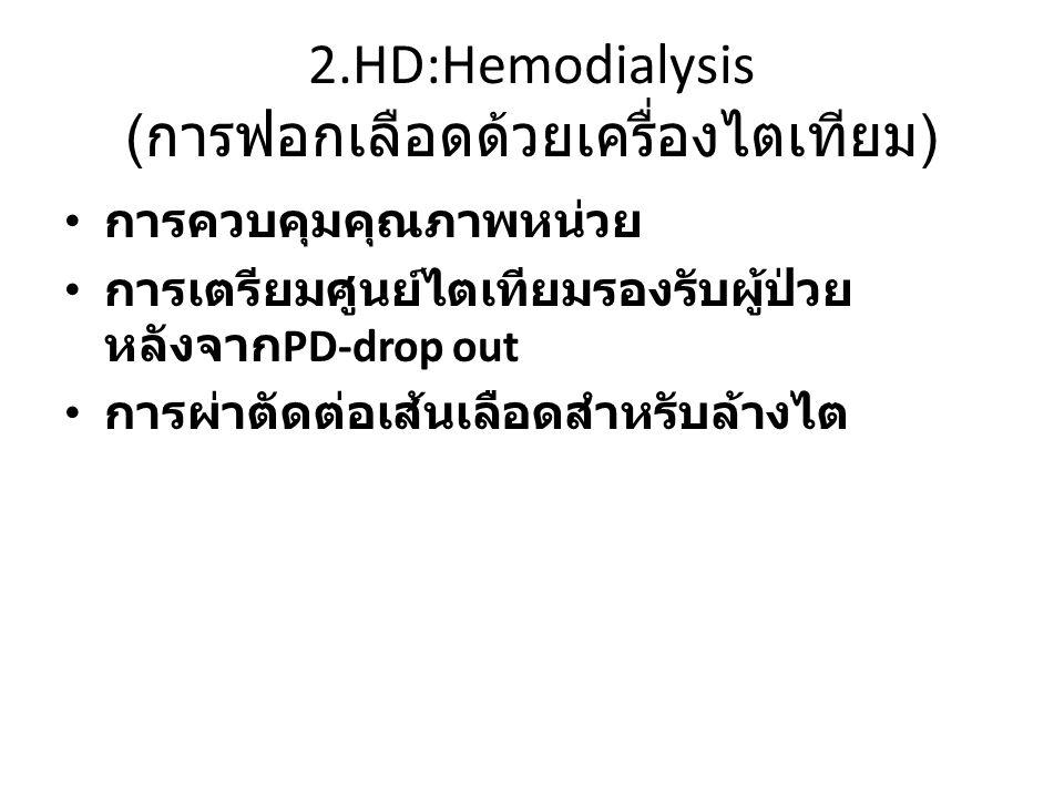 2.HD:Hemodialysis ( การฟอกเลือดด้วยเครื่องไตเทียม ) การควบคุมคุณภาพหน่วย การเตรียมศูนย์ไตเทียมรองรับผู้ป่วย หลังจาก PD-drop out การผ่าตัดต่อเส้นเลือดสำหรับล้างไต