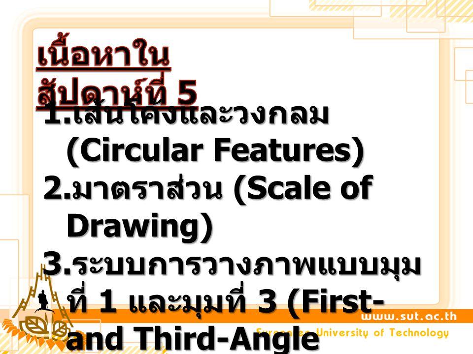 1. เส้นโค้งและวงกลม (Circular Features) 2. มาตราส่วน (Scale of Drawing) 3. ระบบการวางภาพแบบมุม ที่ 1 และมุมที่ 3 (First- and Third-Angle Projection)