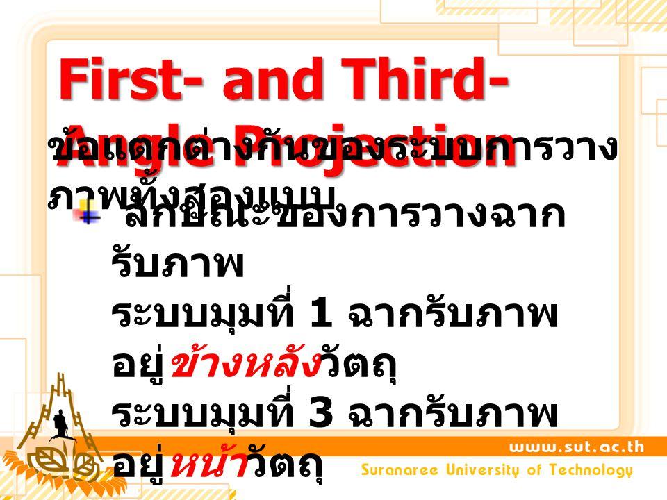 First- and Third- Angle Projection ข้อแตกต่างกันของระบบการวาง ภาพทั้งสองแบบ ลักษณะของการวางฉาก รับภาพ ระบบมุมที่ 1 ฉากรับภาพ อยู่ข้างหลังวัตถุ ระบบมุม