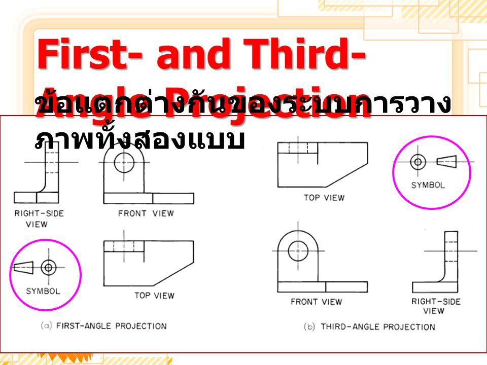 First- and Third- Angle Projection ข้อแตกต่างกันของระบบการวาง ภาพทั้งสองแบบ