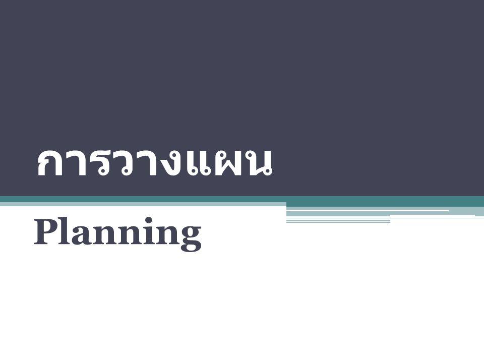 การวางแผน คือกิจกรรมหรือการกระทำที่ ก่อให้เกิด แผน ซึ่งอาจกระทำ ขึ้นเป็นลายลักษณ์อักษร แบบ เป็นทางการหรือไม่เป็นทางการก็ ได้