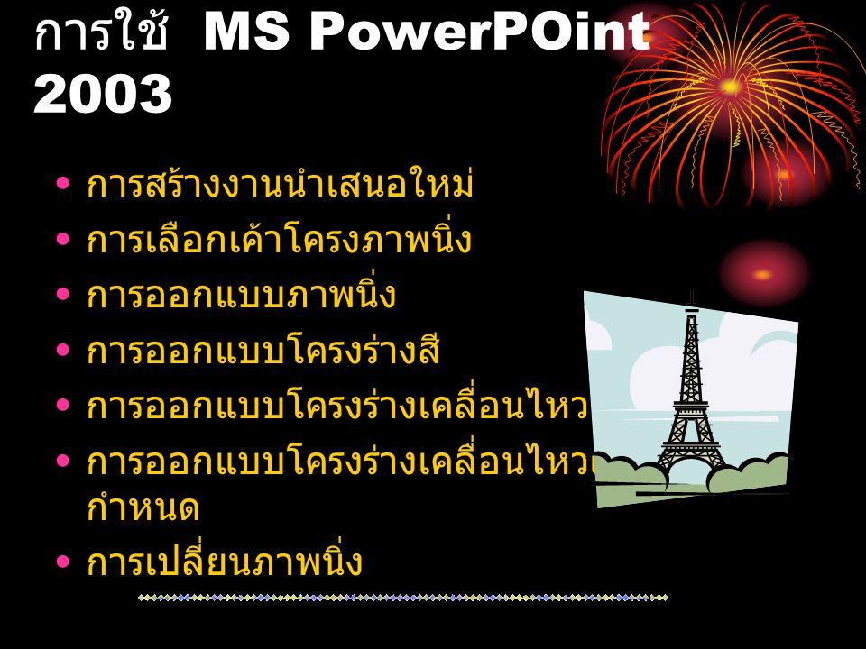 การใช้ MS PowerPOint 2003 การสร้างงานนำเสนอใหม่ การเลือกเค้าโครงภาพนิ่ง การออกแบบภาพนิ่ง การออกแบบโครงร่างสี การออกแบบโครงร่างเคลื่อนไหว การออกแบบโครง