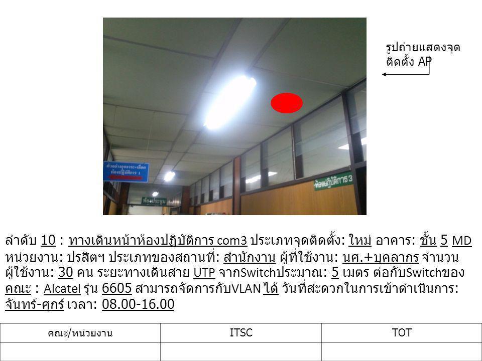 ลำดับ 10 : ทางเดินหน้าห้องปฏิบัติการ com3 ประเภทจุดติดตั้ง : ใหม่ อาคาร : ชั้น 5 MD หน่วยงาน : ปรสิตฯ ประเภทของสถานที่ : สำนักงาน ผู้ที่ใช้งาน : นศ.+ บุคลากร จำนวน ผู้ใช้งาน : 30 คน ระยะทางเดินสาย UTP จาก Switch ประมาณ : 5 เมตร ต่อกับ Switch ของ คณะ : Alcatel รุ่น 6605 สามารถจัดการกับ VLAN ได้ วันที่สะดวกในการเข้าดำเนินการ : จันทร์ - ศุกร์ เวลา : 08.00-16.00 คณะ / หน่วยงาน ITSCTOT รูปถ่ายแสดงจุด ติดตั้ง AP