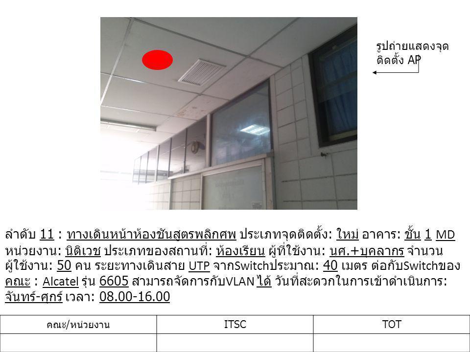 ลำดับ 11 : ทางเดินหน้าห้องชันสูตรพลิกศพ ประเภทจุดติดตั้ง : ใหม่ อาคาร : ชั้น 1 MD หน่วยงาน : นิติเวช ประเภทของสถานที่ : ห้องเรียน ผู้ที่ใช้งาน : นศ.+ บุคลากร จำนวน ผู้ใช้งาน : 50 คน ระยะทางเดินสาย UTP จาก Switch ประมาณ : 40 เมตร ต่อกับ Switch ของ คณะ : Alcatel รุ่น 6605 สามารถจัดการกับ VLAN ได้ วันที่สะดวกในการเข้าดำเนินการ : จันทร์ - ศุกร์ เวลา : 08.00-16.00 คณะ / หน่วยงาน ITSCTOT รูปถ่ายแสดงจุด ติดตั้ง AP