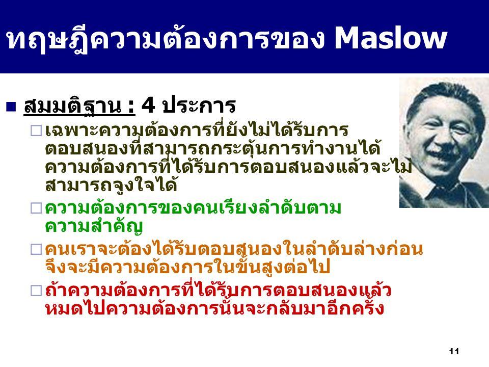 11 ทฤษฎีความต้องการของ Maslow สมมติฐาน : 4 ประการ  เฉพาะความต้องการที่ยังไม่ได้รับการ ตอบสนองที่สามารถกระตุ้นการทำงานได้ ความต้องการที่ได้รับการตอบสน