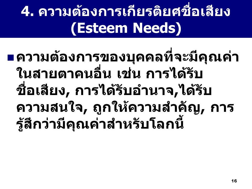 16 4. ความต้องการเกียรติยศชื่อเสียง (Esteem Needs) ความต้องการของบุคคลที่จะมีคุณค่า ในสายตาคนอื่น เช่น การได้รับ ชื่อเสียง, การได้รับอำนาจ,ได้รับ ความ