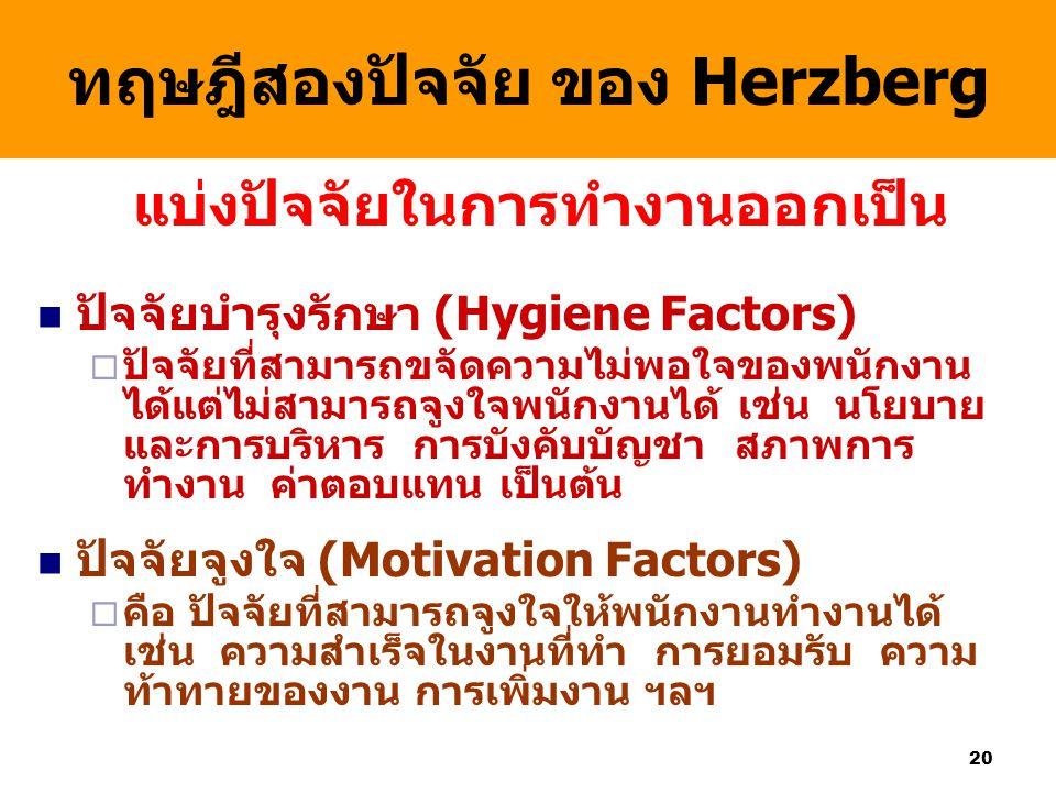 20 ทฤษฎีสองปัจจัย ของ Herzberg แบ่งปัจจัยในการทำงานออกเป็น ปัจจัยบำรุงรักษา (Hygiene Factors)  ปัจจัยที่สามารถขจัดความไม่พอใจของพนักงาน ได้แต่ไม่สามา
