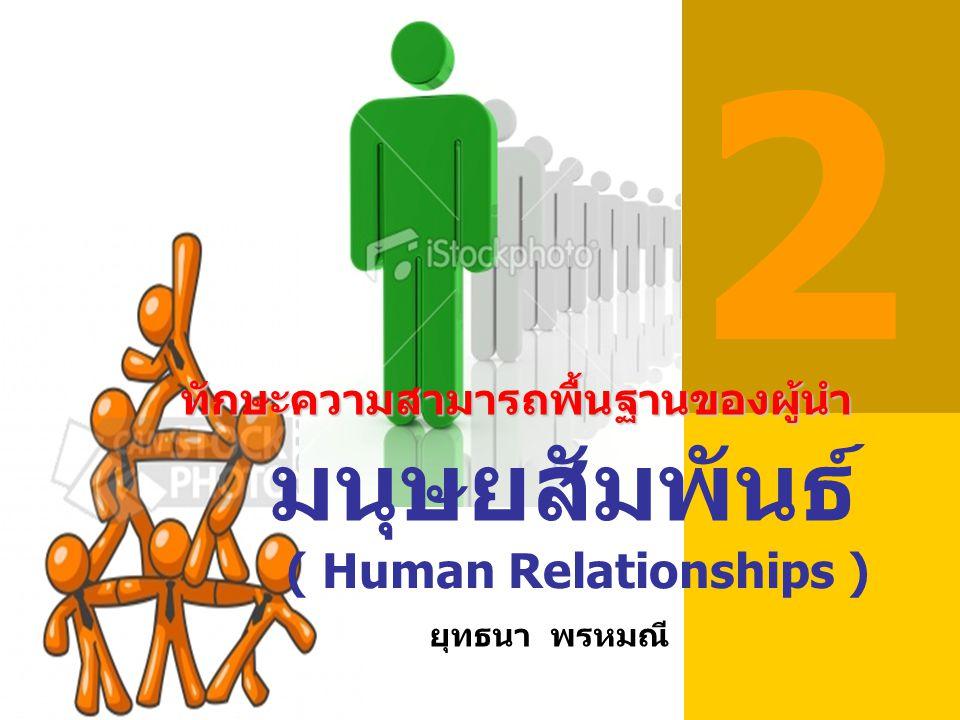 ความหมายของมนุษย์สัมพันธ์ มนุษย์ (Human) หมายถึง ผู้มีจิตใจสูง สัมพันธ์ (Relation) หมายถึง การร่วมกัน การ เกี่ยวพันหรือการติดต่อกัน มนุษยสัมพันธ์ (Human Relations) หมายถึง การอยู่ร่วมกันของผู้มี จิตใจสูง โดยสรุป มนุษยสัมพันธ์ หมายถึง ศิลปะการชนะ ใจคนเพื่อการอยู่ร่วมกัน อย่างเป็นสุข ทำงาน ร่วมกันได้ดี โดยทุกคนได้รับความพอใจทาง เศรษฐกิจ จิตใจและสังคม