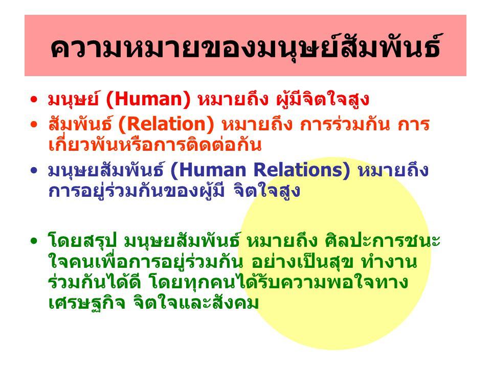 ความหมายของมนุษย์สัมพันธ์ มนุษย์ (Human) หมายถึง ผู้มีจิตใจสูง สัมพันธ์ (Relation) หมายถึง การร่วมกัน การ เกี่ยวพันหรือการติดต่อกัน มนุษยสัมพันธ์ (Hum