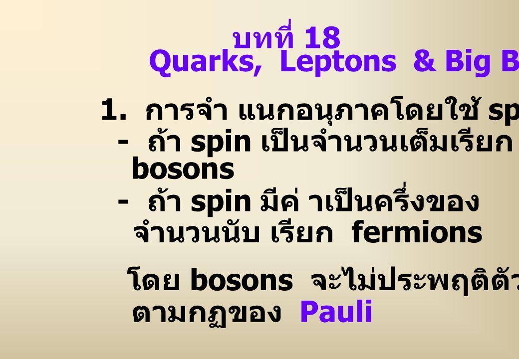 บทที่ 18 Quarks, Leptons & Big Bang 1. การจำ แนกอนุภาคโดยใช้ spin โดย bosons จะไม่ประพฤติตัว ตามกฏของ Pauli - ถ้า spin มีค่ าเป็นครึ่งของ จำนวนนับ เรี