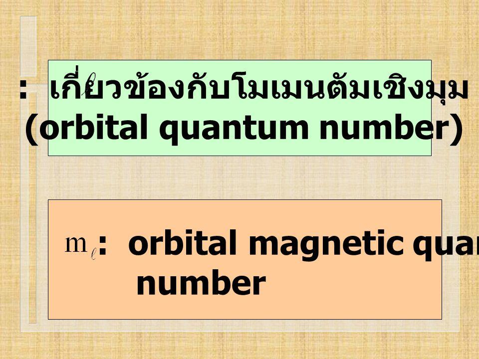 : orbital magnetic quantum number : เกี่ยวข้องกับโมเมนตัมเชิงมุม (orbital quantum number)