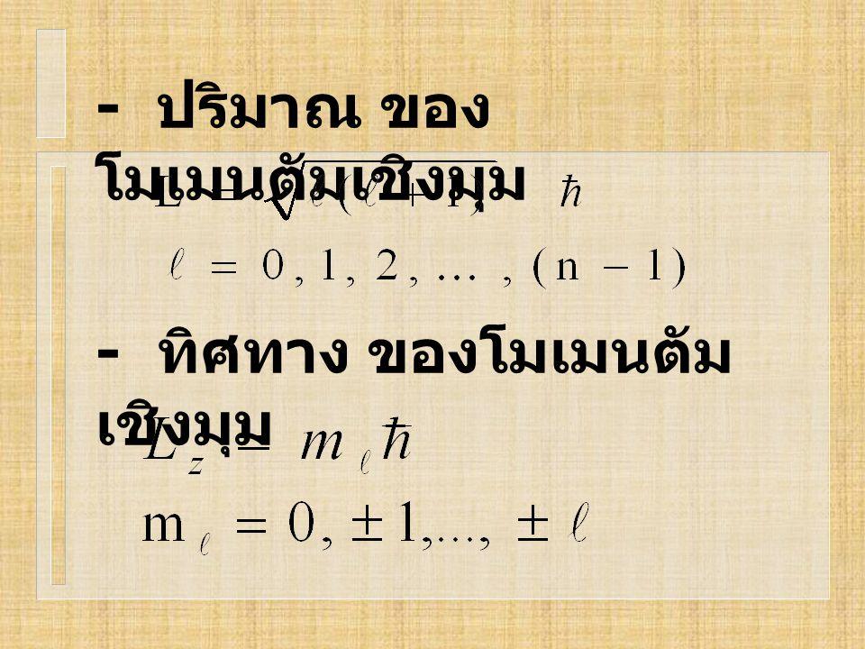 - ปริมาณ ของ โมเมนตัมเชิงมุม - ทิศทาง ของโมเมนตัม เชิงมุม