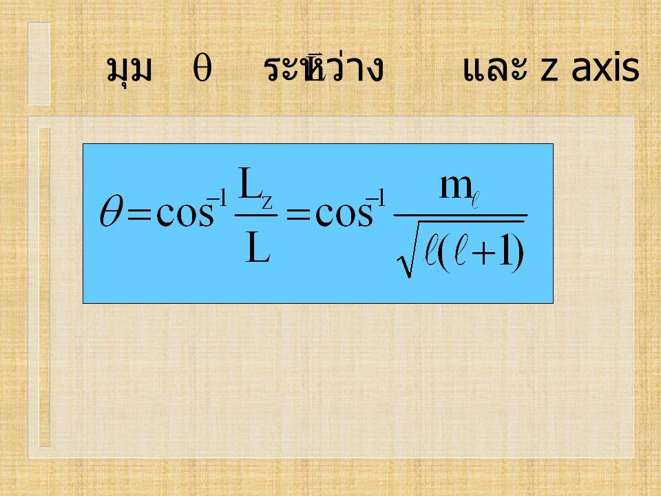 มุม  ระหว่าง และ z axis
