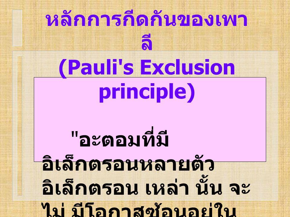 หลักการกีดกันของเพา ลี (Pauli's Exclusion principle)