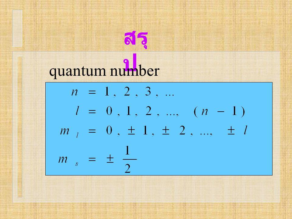 สรุ ป quantum number