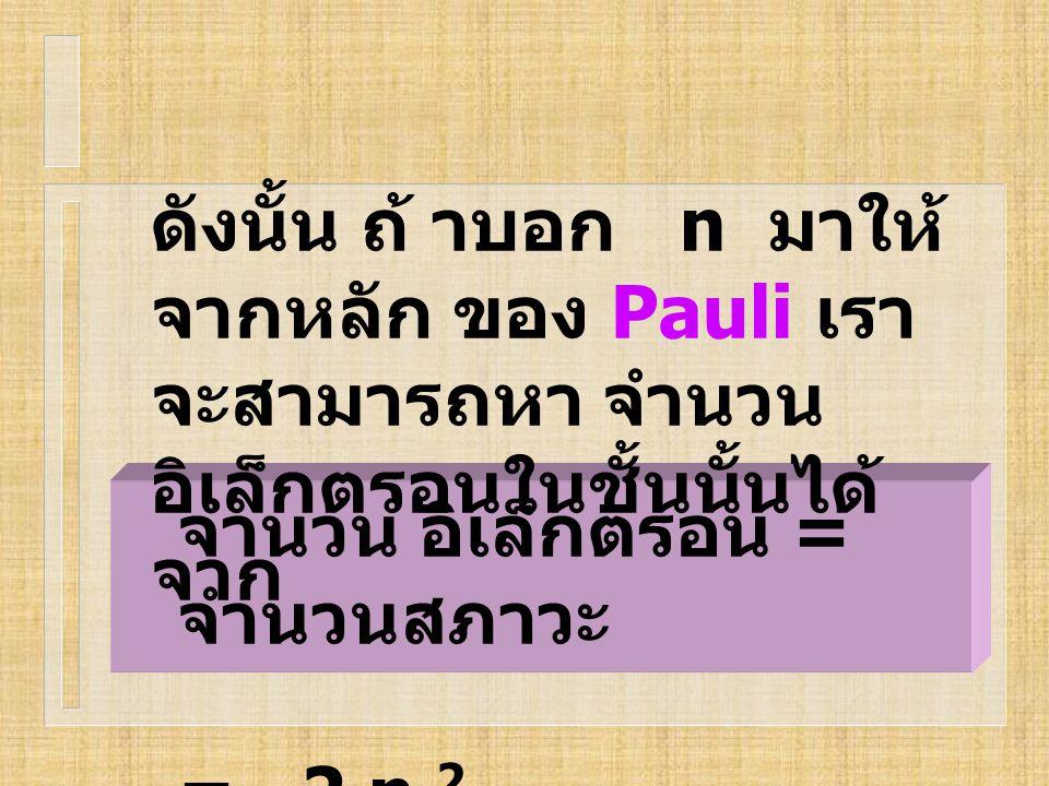 จำนวน อิเล็กตรอน = จำนวนสภาวะ = 2 n 2 ดังนั้น ถ้ าบอก n มาให้ จากหลัก ของ Pauli เรา จะสามารถหา จำนวน อิเล็กตรอนในชั้นนั้นได้ จาก