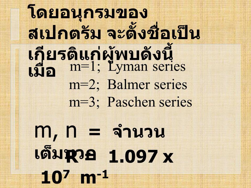 โดยอนุกรมของ สเปกตรัม จะตั้งชื่อเป็น เกียรติแก่ผู้พบดังนี้ เมื่อ m, n = จำนวน เต็มบวก R = 1.097 x 10 7 m -1 m=1; Lyman series m=2; Balmer series m=3;