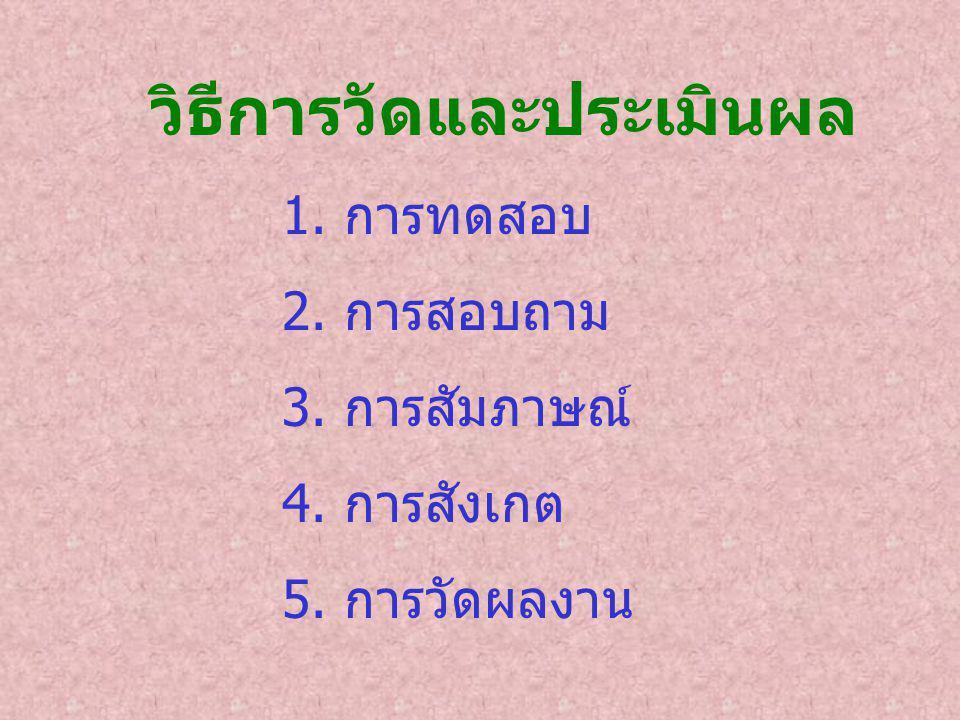 วิธีการวัดและประเมินผล 1. การทดสอบ 2. การสอบถาม 3. การสัมภาษณ์ 4. การสังเกต 5. การวัดผลงาน