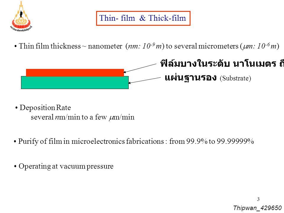 4 ขั้นตอนของกระบวนการผลิต Thin Films วัสดุของฟิล์ม (Source) การนำส่งวัสดุ ไปยังฐานรอง (Transport) การเติบโตของฟิล์ม หรือปลูกฟิล์ม (Deposition) การแอลนีล (Annealing) ฟิล์ม การวิเคราะห์ (Analysis) อัตราการจ่ายกำลังไฟฟ้า ?.