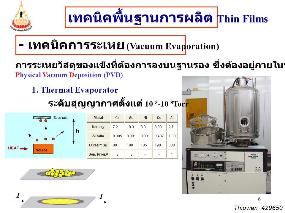 7 Thipwan_429650 ส่วนประกอบหลักที่สำคัญในระบบ Thermal evaporator เครื่องทำระบบสุญญากาศ - ทำงานในสภาวะเริ่มต้นต้องใช้ Roughing Pump ความดันบรรยากาศ (760Torr) ถึง 1  10 -3 Torr - ทำงานในสภาวะต่อมาต้องใช้ Cryo-pump หรือ Turbomicro-pump : 10 -3 Torr - 10 -9 Torr