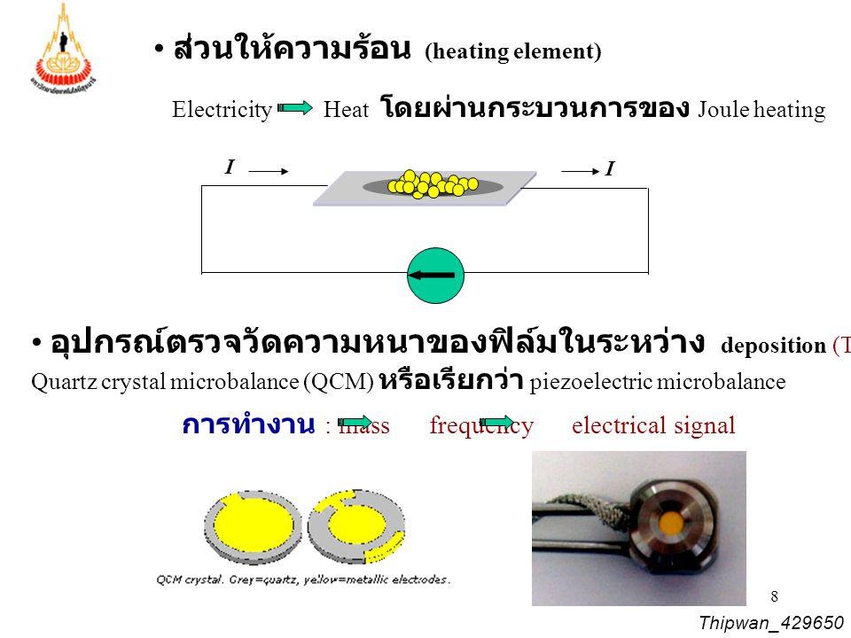8 Thipwan_429650 อุปกรณ์ตรวจวัดความหนาของฟิล์มในระหว่าง deposition (Thin film thickness sensor) Quartz crystal microbalance (QCM) หรือเรียกว่า piezoel
