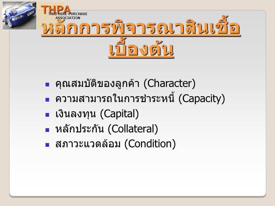 หลักการพิจารณาสินเชื้อ เบื้องต้น THPA THAI HIRE-PURCHASE ASSOCIATION คุณสมบัติของลูกค้า (Character) ความสามารถในการชำระหนี้ (Capacity) เงินลงทุน (Capi