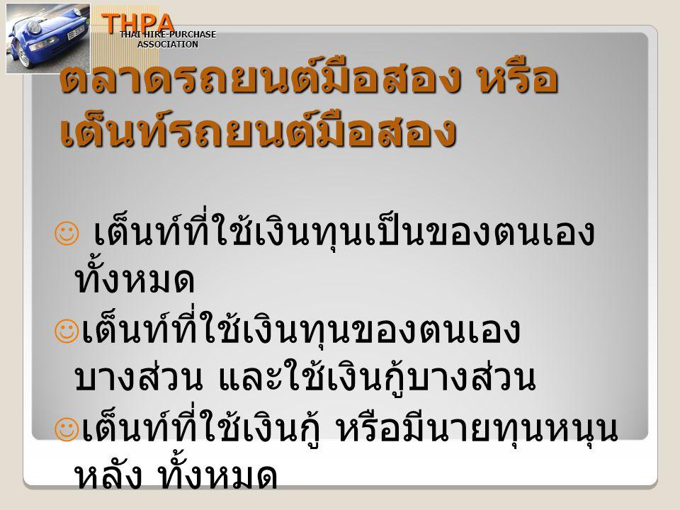 สถาบันการเงินที่ให้บริการ ด้านสินเชื่อรถยนต์ใช้แล้วTHPA THAI HIRE-PURCHASE ASSOCIATION กลุ่มธนาคารบริษัททั่วไปบริษัทประกัน  ธนาคารทิสโก้จำกัด  ธนชาติ  เกียรตินาคิน  ไทยพาณิชย์  อยุธยาออโตลีส  กรุงไทยออโตลีส  สินเอเชียสิสซิ่ง  ฯลฯ  ราชธานีลีสซิ่ง  ซิตี้ลิสซิ่ง  สินอุตสาหกรรม ลิสซิ่ง  เอเซียเสริมกิจลิสซิ่ง  พระนครยนตรการ  ตะวันออกพาณิชย์ ลิสซิ่ง  ไทยประกันชีวิต  ไทยสมุทร