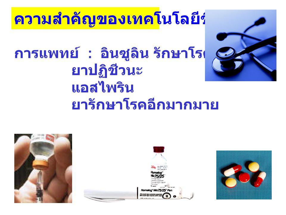ความสำคัญของเทคโนโลยีชีวภาพ การแพทย์ : อินซูลิน รักษาโรคเบาหวาน ยาปฏิชีวนะ แอสไพริน ยารักษาโรคอีกมากมาย
