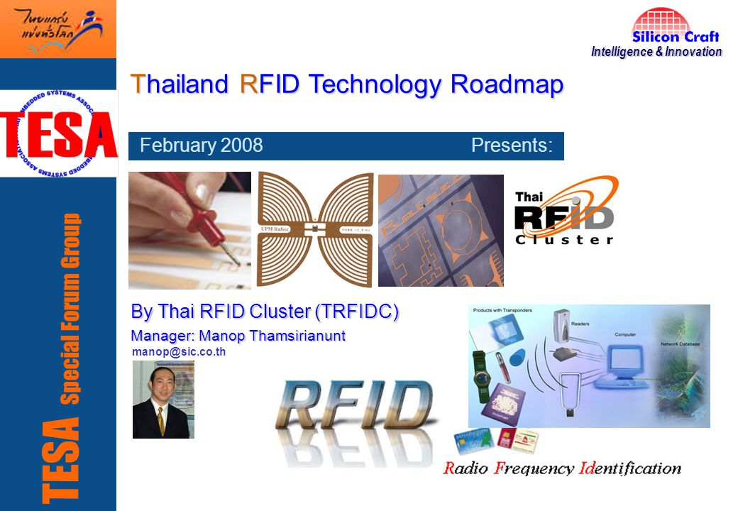 22 Thai RFID Cluster: Enabling Thailand s RFID Technology SiC's RFID Core Products Addressing E-IDentification Access Control Cards, Smart-tags, Smart-tags, and Emulation Chips and Emulation Chips (after market) SIC5693, 13.56MHz SIC7771-125KHz SIC7960 SIC7802 Extended features SIC7900/SIC7900X HDX Basic Animal RFID Advanced Animal RFID Tagging (more Tracebility/database support) SIC7845 SIC7845X SIC7800 SIC7801