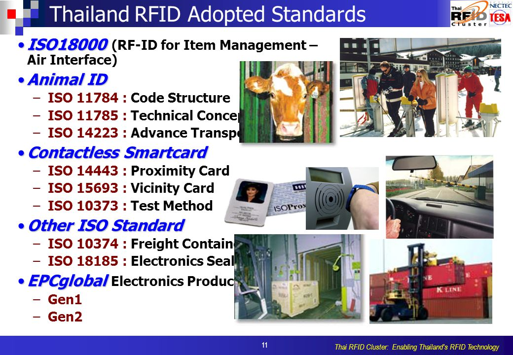 11 Thai RFID Cluster: Enabling Thailand's RFID Technology ISO18000ISO18000 (RF-ID for Item Management – Air Interface) Animal IDAnimal ID –ISO 11784 :