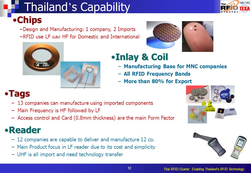 12 Thai RFID Cluster: Enabling Thailand s RFID Technology Thailand ' s Capability Inlay & CoilInlay & Coil – –Manufacturing Base for MNC companies – –All RFID Frequency Bands – –More than 80% for Export TagsTags – –13 companies can manufacture using imported components – –Main Frequency is HF followed by LF – –Access control and Card (0.8mm thickness) are the main Form Factor ReaderReader – –12 companies are capable to deliver and manufacture 12 co.