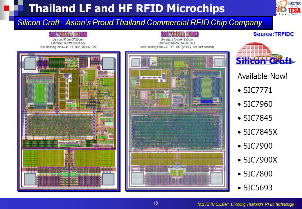 18 Thai RFID Cluster: Enabling Thailand s RFID Technology Thailand LF and HF RFID Microchips Silicon Craft: Asian's Proud Thailand Commercial RFID Chip Company Available Now.