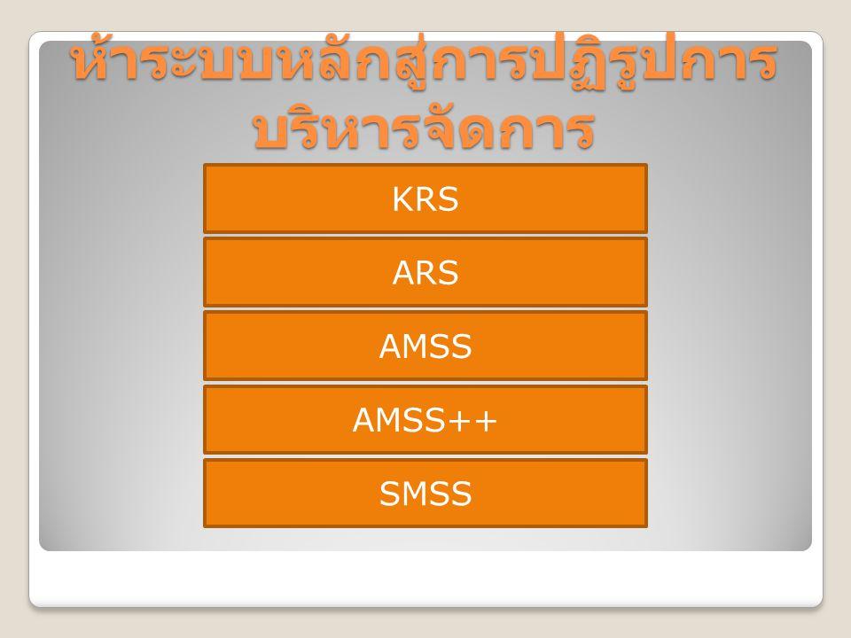 ห้าระบบหลักสู่การปฏิรูปการ บริหารจัดการ KRS ARS AMSS AMSS++ SMSS