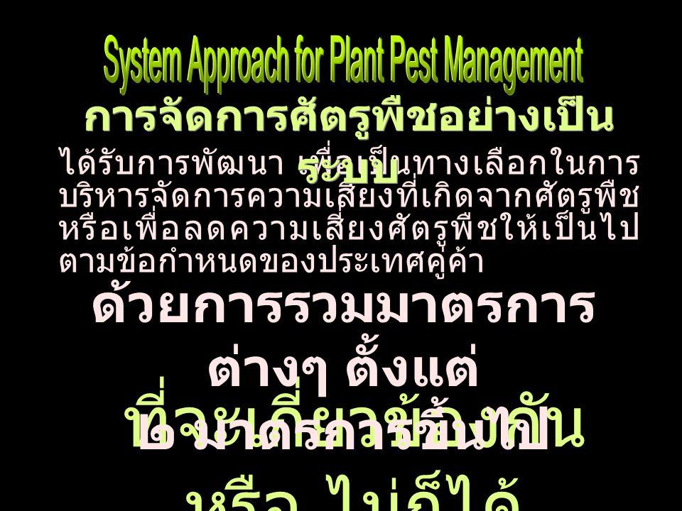 โดยพิจารณาจากพื้นที่ ฐานข้อมูลความสัมพันธ์ของ ศัตรูพืช พืชอาศัย และข้อมูล เฉพาะของพื้นที่ ร่วมกับการ วิเคราะห์และประเมินความ เสี่ยงศัตรูพืช ได้รับการพัฒนา เพื่อเป็นทางเลือกในการ บริหารจัดการความเสี่ยงที่เกิดจากศัตรูพืช หรือเพื่อลดความเสี่ยงศัตรูพืชให้เป็นไป ตามข้อกำหนดของประเทศคู่ค้า ด้วยการ รวมมาตรการต่างๆ ตั้งแต่ ๒ มาตรการขึ้น ไป ที่จะเกี่ยวข้องกันหรือไม่ก็ได้ การจัดการศัตรูพืชอย่างเป็น ระบบ